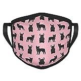 DearLord protector de boca Negro Bulldog francés rosa cara Ma-sks tela Ma-sk protección eficiencia mejor cara bricolaje Ma-sk con bolsillo de filtro reutilizable cuello polaina Pasamontañas Ma-sk