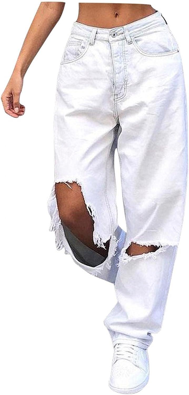 Larisalt Y2k Fashion Jeans for Women High Waisted Pants, Womens Baggy Ripped Boyfriends Jeans Wide Leg Loose Denim Pants