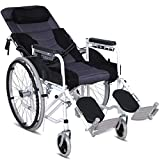 ZXGQF Silla de ruedas autopropulsable, Plegable ligera Tránsito Reclinable Silla De Ruedas- Reposabrazos y Reposapiés extraíble Cinturon de seguridad, para mayores y discapacitados (Half-lying gray)