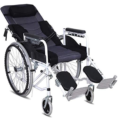 ZXGQF Rollstuhl, Selbstfahren Faltrollstuhl mit Fußstütze und Armlehnen, Pflegerollstuhl mit Liegefunktion, für ältere und behinderte Menschen (Half-lying gray)