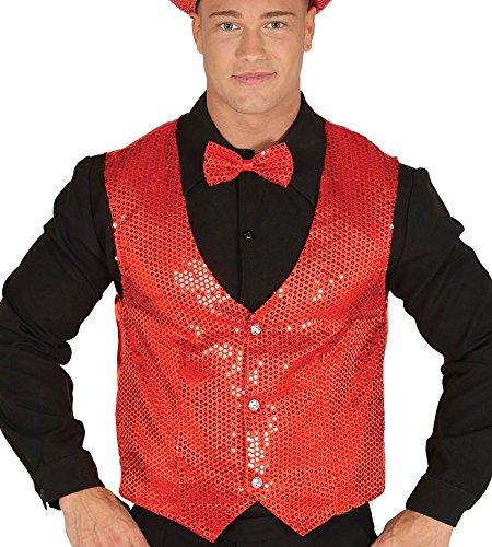 hombre de chaleco rojo con lentejuelas lentejuelas