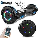RCB Hoverboard Scooter Elettrico 6.5 inch Auto-bilanciato con luci sulle Ruote Bluetooth per Adulti e BAMB (Carbone Nero)