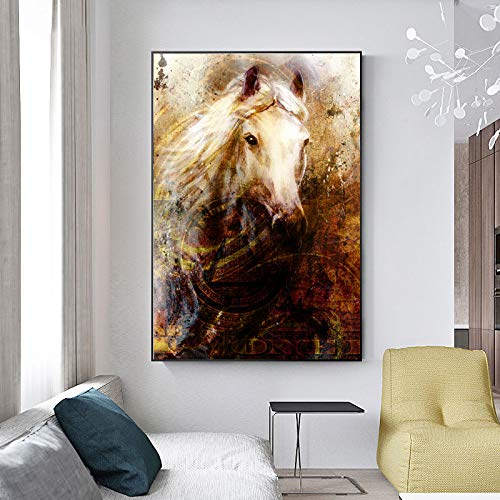 ZUVERLÄSSIGE KUNST Pferdekopf Tierbilder Abstrakte Leinwand Malerei Wandkunst Bild für Wohnzimmer Home Decoration A 30x40cm