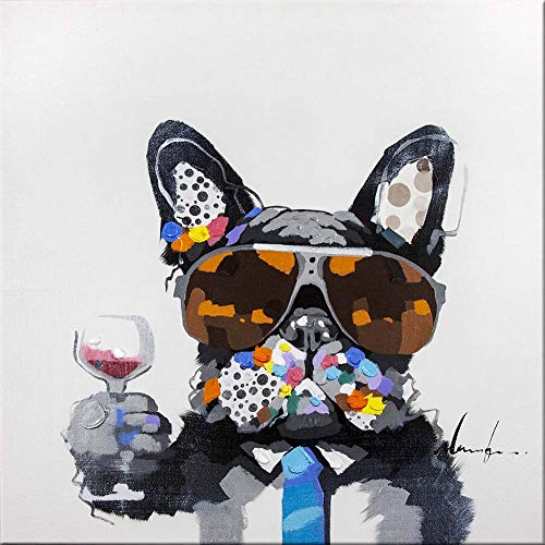 Bignut Wall Art 100% Hand Painted Cool Bulldog Holding Wine Glass Modern Funny Animal Dog Oil Painting Canvas Framed Decor For Home and Office Space 24x24inch