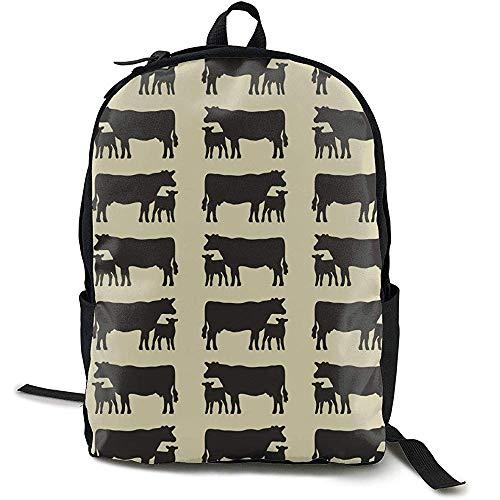 Mochilas,Black Angus Cattle Animal College Backpack Mochilas De Viaje Cómodas para Adultos Al Aire Libre Gimnasio