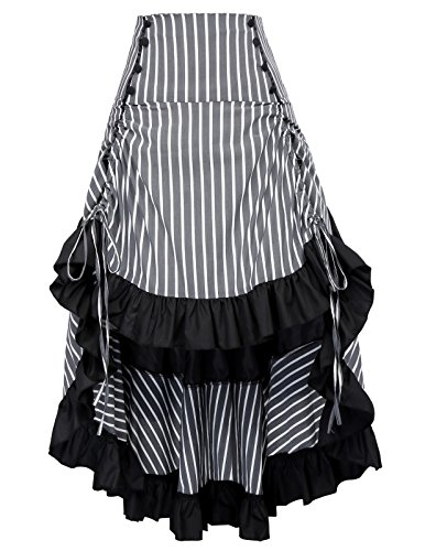 Belle Poque Falda de Mujer Retro Enagua Vintage Steampunk Ruffle Rayas Algodón Casual