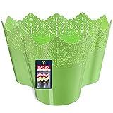 KADAX Macetas de plástico de encaje de 11 colores, maceta con diseño de encaje para la oficina, maceta, jardinera de jardín, macetero (triple verde)