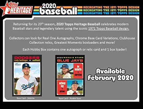 2020 Topps Heritage Baseball Hobby Box (24 Packs/9 Cards: 1 Auto or Mem)