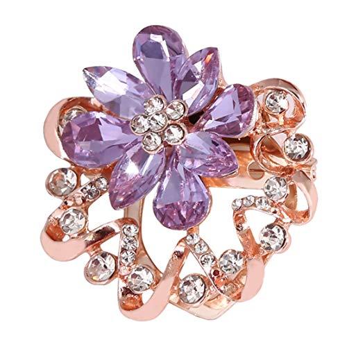 Botreelife Kristall Brosche Stifte Frauen Blumen Broschen Hochzeitsfeier Kleidung Schmuck Accessoires (Lila)
