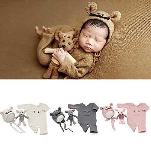 3 Piezas de Accesorios de Fotografía de Bebé Recién Nacido Trajes de Mameluco de Punto Sombrero Conjunto de Muñeca de Rata Accesorios de Fotografía de Bebé Disfraz para 0-2 Meses