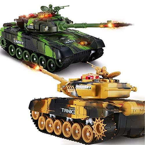 Ycco 2 unids 2.4GHz emulational británico Challenger 2 RC Tanque de batalla con efecto de humo y sonido 33 cm Tanque RC con cable de cargador Control remoto Panzer Tank Alemán Tiger Padre-Niño juego R