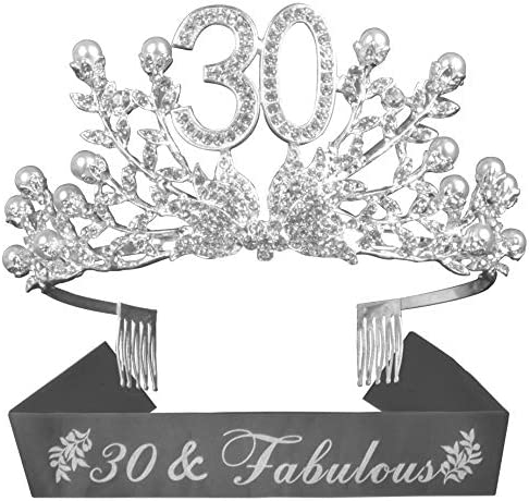 30th Birthday Gifts for Women 30th Birthday Decorations Party Supplies Silver 30th Birthday product image