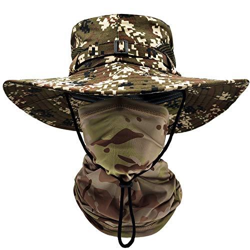 ehsbuy Cappello Mimetico Pescatore Tesa Large Safari Traspirante Boonie Hat Scaldacollo Tattica Mimetica Esercito Vegetata per Uomo Pesca Cacca Jungle Paintball CS