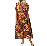 2019 Fashion!Women Summer Casual Loose Maxi Dress Leafs Printed Short Sleeve Plus Size Retro Sundress Yellow by Leewos