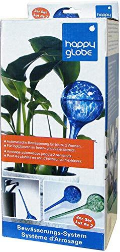 Feelino 2X 9cm Grosse Glas-Bewässerungskugeln Happy Globe zur automatischen Bewässerung für ca. 14 Tage, Durstkugeln, Wasserkugeln