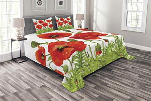 Lunarable Marienkäfer-Tagesdecke, horizontale Bordüre, Mohnblumen, Kamille, Wildblumen, Rasen, dekoratives gestepptes 3-teiliges Bettbezug-Set mit 2 Kissenbezügen, Queen-Size-Größe, Grün & Rot