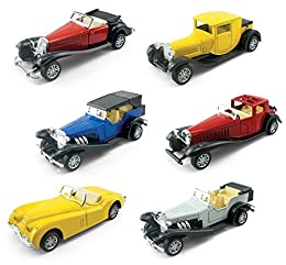 """Box of 6 Diecast Antique Classic Vehicles Pullback Action - Simply Pull Back and Go! Heavy Gauge Diecast Metal Car with Plastic Parts Openable Doors with Authentic Styling and Details Each Car Measures Approx 4.5"""" in Length"""