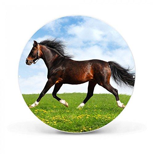 Design Magnettafel von banjado | Pinnwand magnetisch 47cm Ø | Memoboard mit Motiv Pferd | Magnetwand weiß aus Metall rund