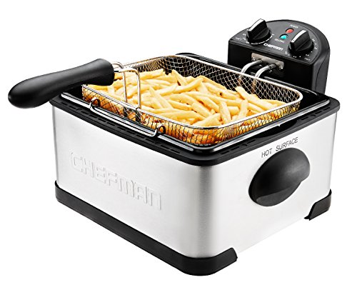 Chefman with Basket Strainer Jumbo Size Perfect for Chicken, Shrimp, French Fries and More, Removable Oil Container and Rotary Knob for Adjusting the Temperature, 4.5 Liter, Silver and Black