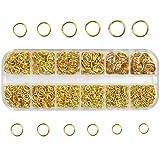 Chstarina 1100Pcs Anillos Salto Abiertos, 4mm-10mm Anillas de Salto de Metal con Caja de Plástico, Accesorios de Fabricación de Bisutería, Conectores de Anillo Redondo para Pulsera y Collar (oro)