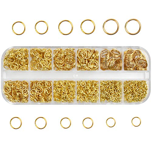 Chstarina 1100 Pieces Jump Rings 4mm 5mm 6mm 7mm 8mm 10mm Metal Open Jump Rings with Storage Box, Jewelry Findings Kit for DIY Jewelry Making Supplies Findings and Necklace Bracelet Repair (Gold)