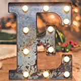 Light Up Industrial LED Marquee Lights, Lit Iron Effect Initial Letters Lights Vintage Style 26 Alphabet Name Sign Bar Cafe Decoration for Birthday Party Christmas Wedding Events(Rusty letter E)