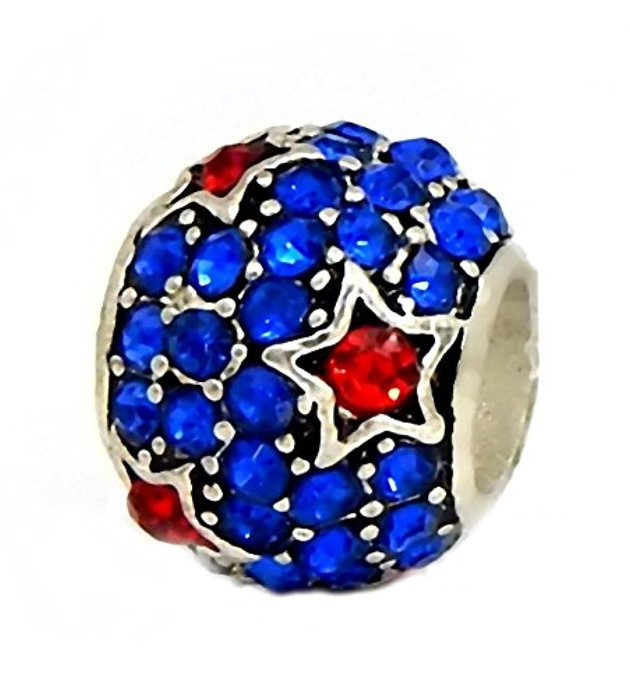 J&M Sapphire Blue Crystal Spacer Bead with Red Stars for Charms Bracelets
