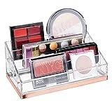 mDesign Práctico organizador de maquillaje – Caja para cosméticos decorativa para guardar pintaúñas y polvos – Bandeja organizadora con 4 compartimentos para maquillaje – transparente/dorado rojizo