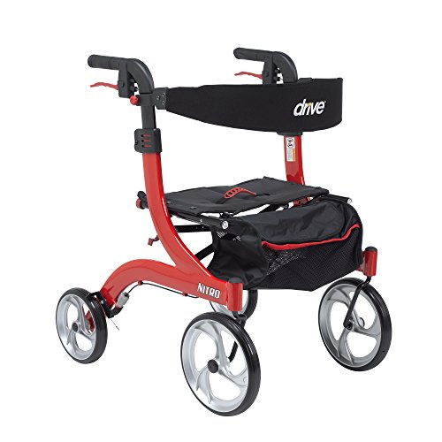 Drive Medical RTL10266-H Nitro Euro Style Walker Rollator, Petite, Red