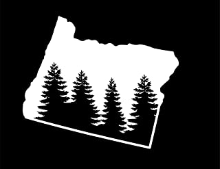 ND395W State Of Oregon Pine Tree Decal Sticker | 5.5-Inches By 4.6-Inches | Premium Quality White Vinyl