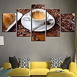 Deryut Stampe E Quadri su Tela Canvas Painting Living Room Wall Art 5 Pezzi Fragrante Cafe Pane Immagini Chicchi di caffè Poster Cucina Componibile Home Decor-Telaio