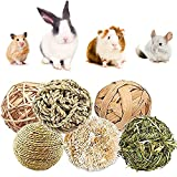 YANGWX Rabbit Guinea Pig Hamster Bunny Chew Toys, Natural Wooden Chinchillas Toys Exercise Accessories, Teeth Care Molar Toy for Hamster Rabbits Gerbils Bird Parrot(7CM&10CM)-6pcs