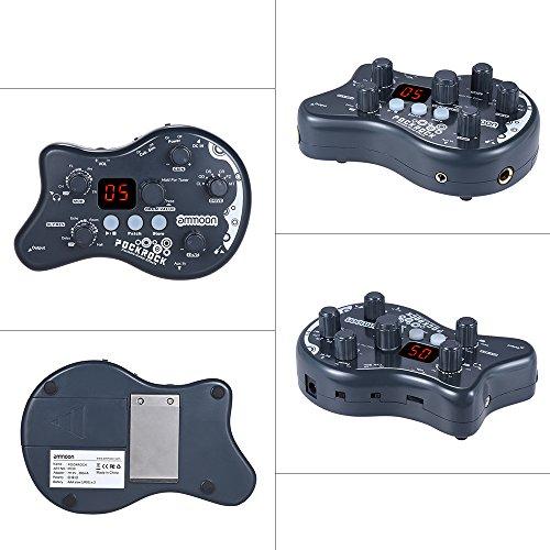 ammoon Múltiples Efecto Pedal PockRock Guitarra Portátil Procesador de Efectos 15 Tipos de Efectos 40 Ritmos del Tambor Función de Ajuste con Adaptador de Corriente (Gris)