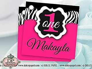hot pink zebra 1st birthday invitations