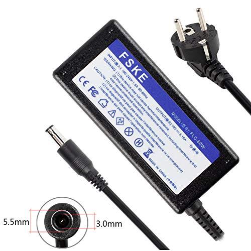 FSKE 60W 19V 3.16A Cargador Adaptador para Samsung NP300E5A NP350V5C R39 R410 R540 R20 R530 R522 R710 R580 R610 R520 RV510 R720 R700 R60 R45 Notebook EUR Power Supply,5.5 * 3.0mm