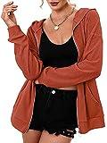 BKPAPTXY Sudadera de mujer con capucha Casual Sudadera de Color Sólido de Manga Larga Cardigan con Bolsillo Elegante Ropa Exterior Outerwear Otoño Streetwear, Mandarina, S