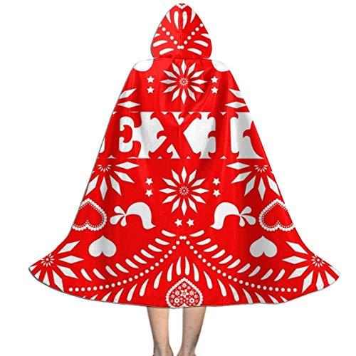 Amanda Walter Capa con Capucha para nios de Color Rojo con Calavera de Halloween Mexicana para la Fiesta de Navidad de Halloween, Disfraz de Vampiro Brujo Mago de Cosplay para nios con Sombrero