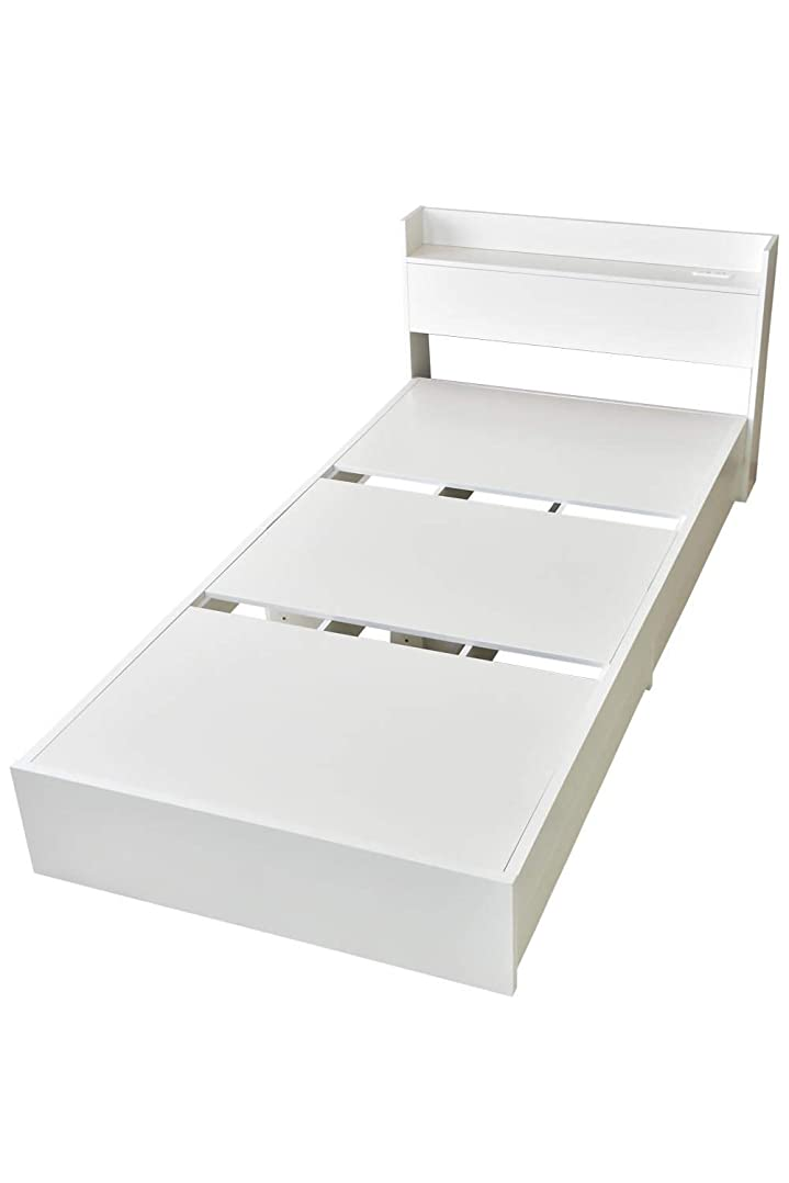 茎マーカーあいにくDORIS ベッド ベッドフレーム シングル ベッド下収納 組立式 コンセント付 ホワイト ファンシー