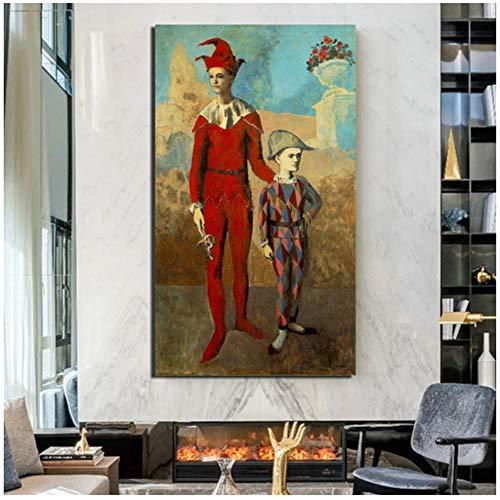 chtshjdtb Gerahmte Pablo Picasso Akrobat und Junge Harlekin Leinwand Malerei Wohnzimmer Home Decor Wandkunst Gemälde -50x90cm Holz Innenrahmen