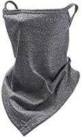 TOSFOGO Triangle Face Bandana with Ear Loops Neck Gaiter Mask Mouth Cover Rave Balaclava for Women Men Teens Kids