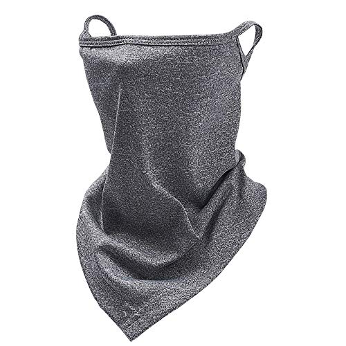 TOSFOGO Triangle Face Bandana with Ear Loops Neck Gaiter Mask Mouth Cover Rave Balaclava for Women Men Teens Kids(Adult Size, Dark Grey)