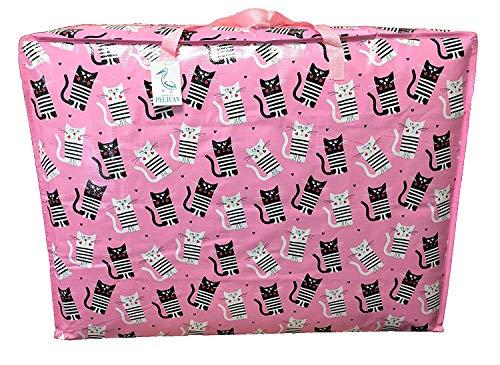 Zeer grote opbergtas (capaciteit 115 L) Water- en stofdicht. Opbergtassen met dubbele rits voor speelgoed, wasgoed, beddengoed. Ruimtebespaarder voor kledingkast Roze katten