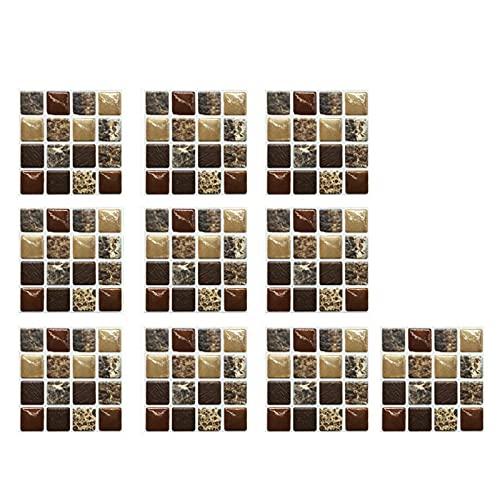 10 piezas 3D azulejos adhesivos de mosaico, adhesivo de pared para azulejos de cocina, azulejos de 10 x 10 cm, adhesivo decorativo para baño y cocina