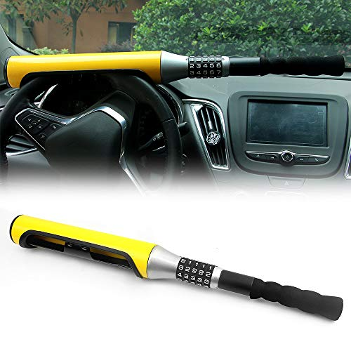 KAIRAY Diebstahlsicherung Auto Lenkradschloss 5 Passwort codiert Lenkschloss Gelb Baseballschläger Typ Sicherheitsvorrichtung Universal Für Auto SUV
