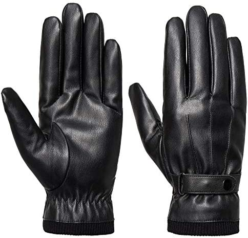 SANKUU Men s Winter Black Gloves Leather Touchscreen Snap Closure Cycling Glove Outdoor Riding product image