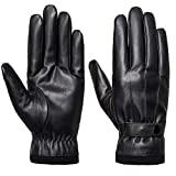 SANKUU Men's Winter Black Gloves Leather Touchscreen Snap Closure Cycling Glove Outdoor Riding Warm Waterproof Gloves (Black, M)