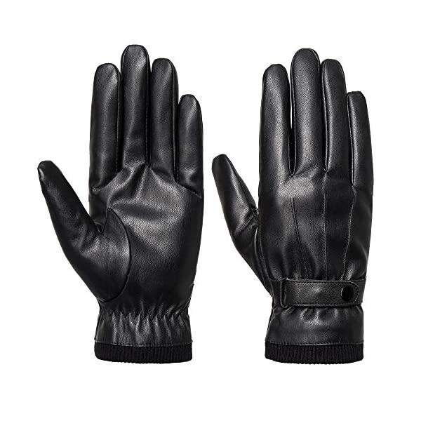 Sankuu Men's Winter Black Leather Gloves 1