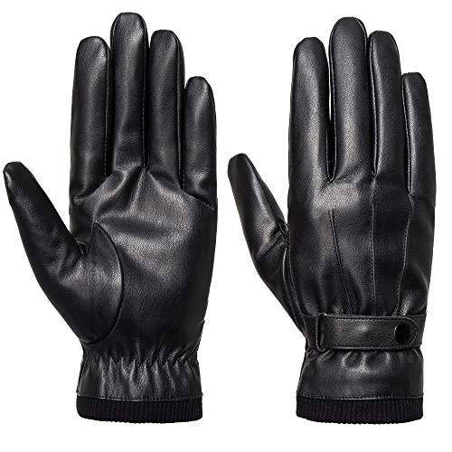 SANKUU Men's Winter Black Gloves Leather Touchscreen Snap Closure Cycling Glove Outdoor Riding Warm Waterproof Gloves (Black, XL)