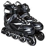 ZRZJBX Kinder Inlineskates I verstellbar I 2 Größen I Rollerskates I komfortable Skates I atmungsaktiv I Inliner für Jungs und Mädchen I im Chucks-Design,Black-M#(36#-39#)