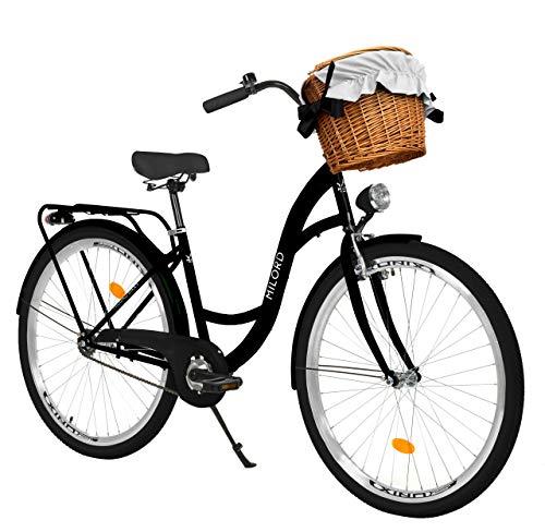 Milord. Bicicleta de Confort Negro de 1 Velocidad y 26 Pulgadas con Cesta y Soporte Trasero, Bicicleta Holandesa, Bicicleta para Mujer, Bicicleta Urbana, Retro, Vintage